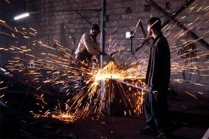 Metal factory employees